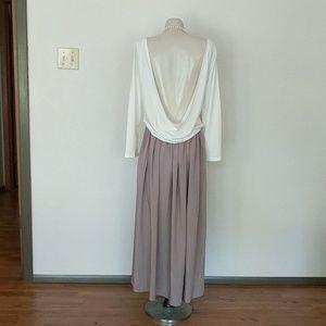 Long sleeve open back dress